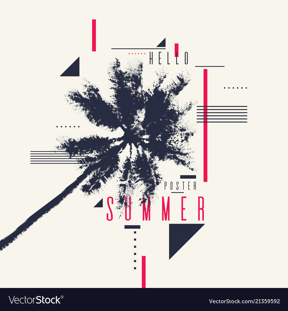 Hello summer modern poster with palm tree and