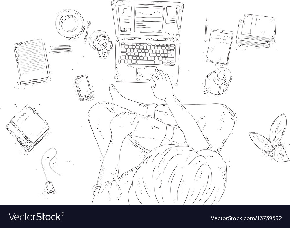 Human with laptop at home sitting on the floor