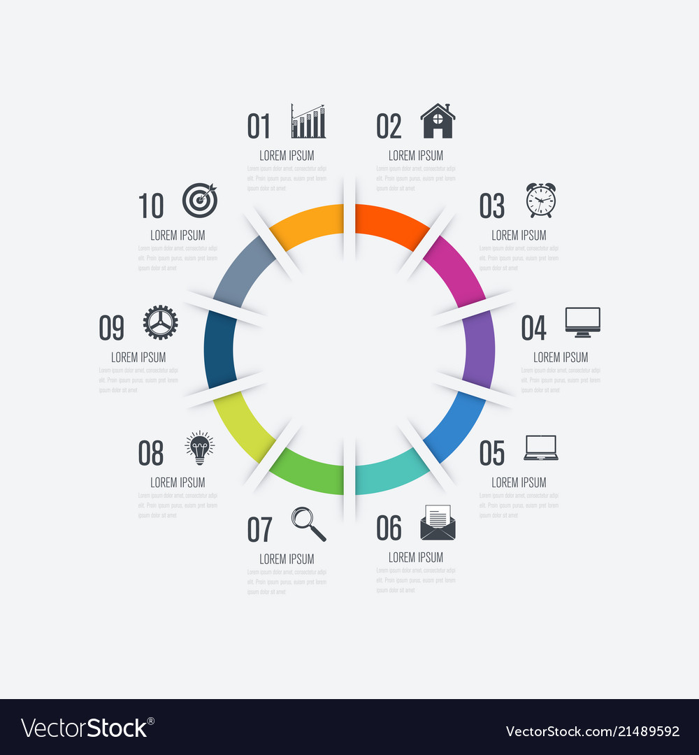 Infographics template 10 options with circle