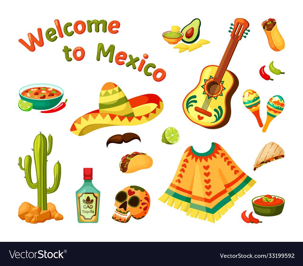 Mexican culture set sombrero and guitar