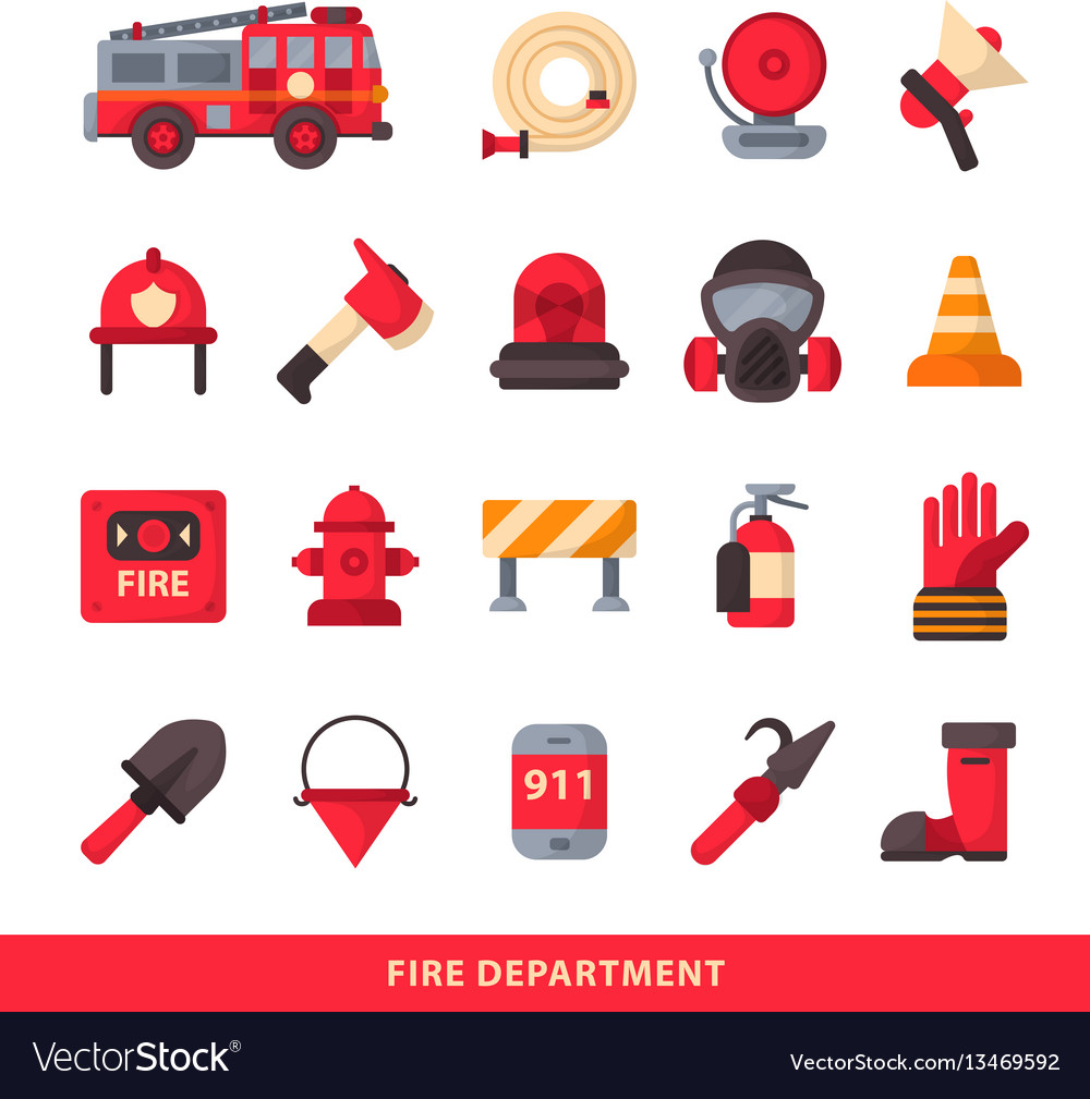 Set of designed firefighter elements coloured fire vector image