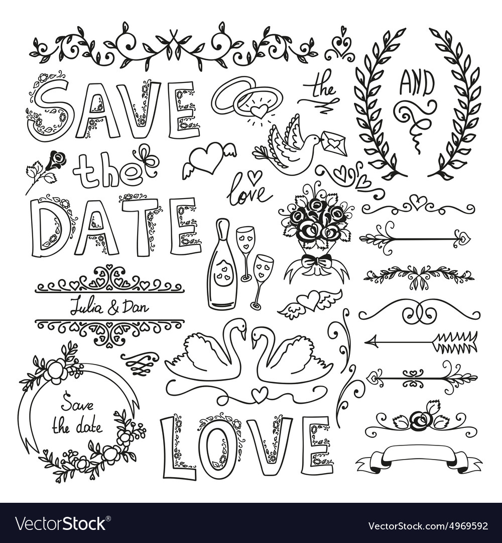 Set of wedding decorative elements royalty free vector image set of wedding decorative elements vector image junglespirit Image collections