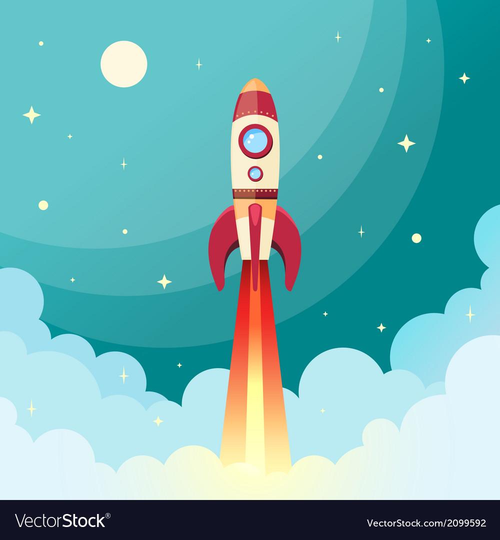 Space rocket print vector image