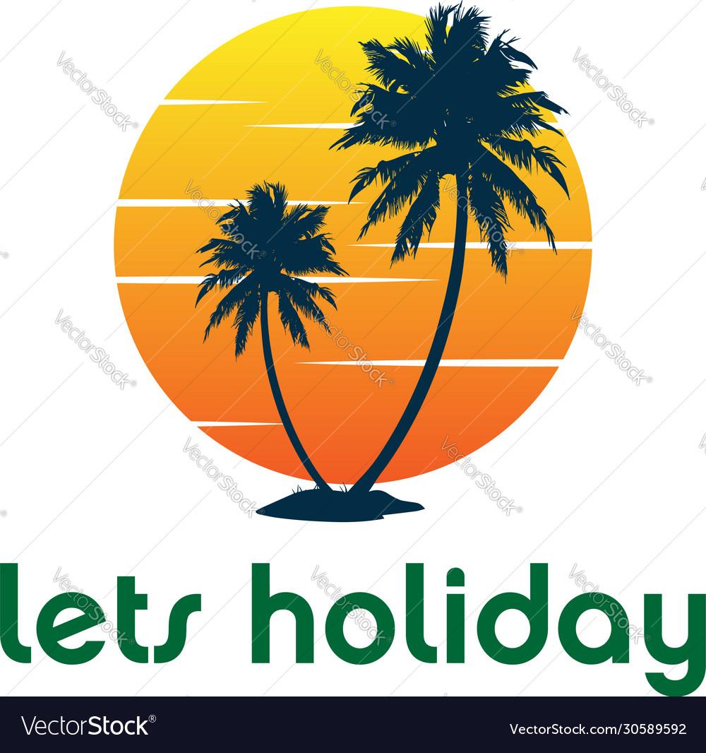 Sunset palm coconut tree beach logo design