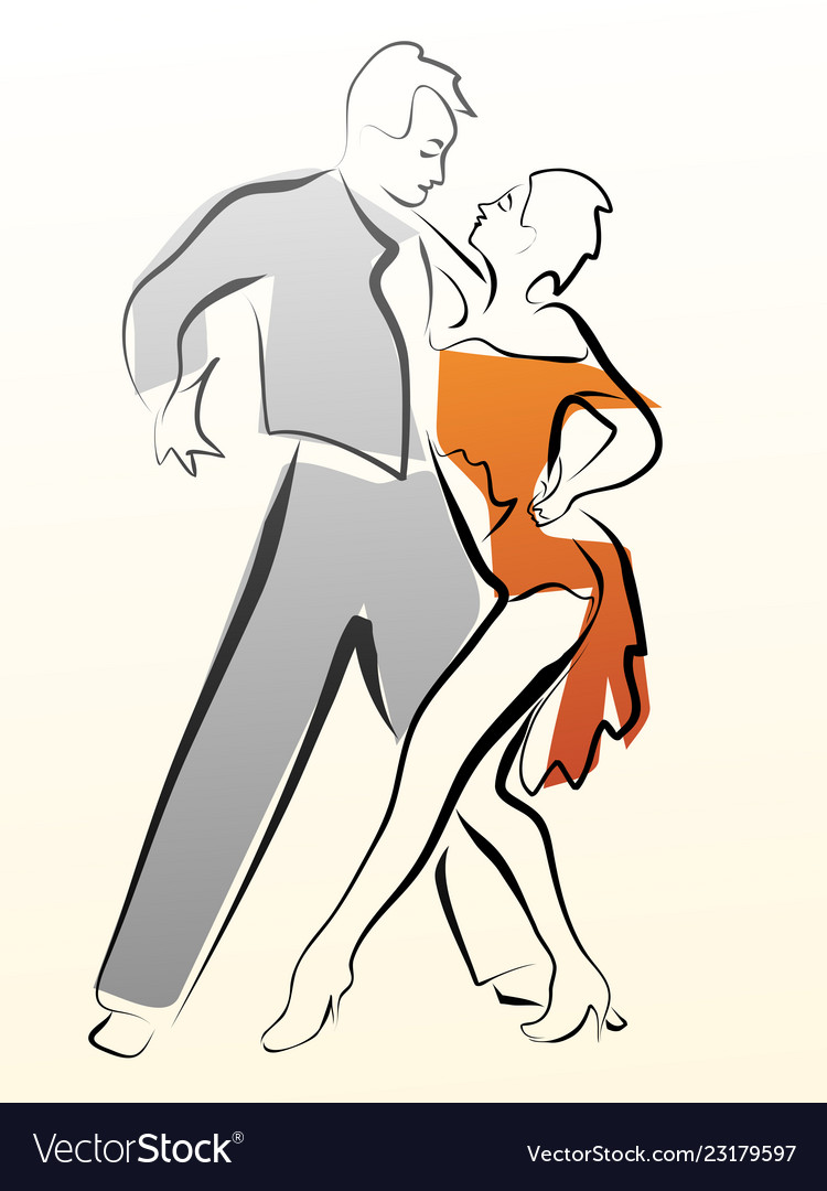 Abstract of dancing couple made in line