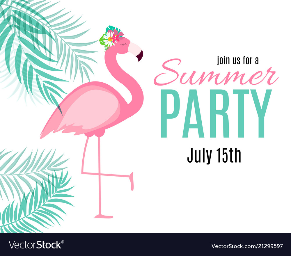 Abstract summer party background with palm leaves