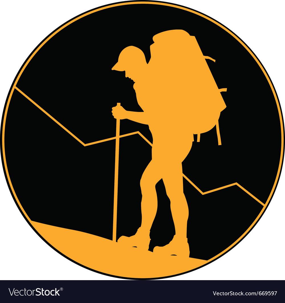 Backpacker hiker vector image