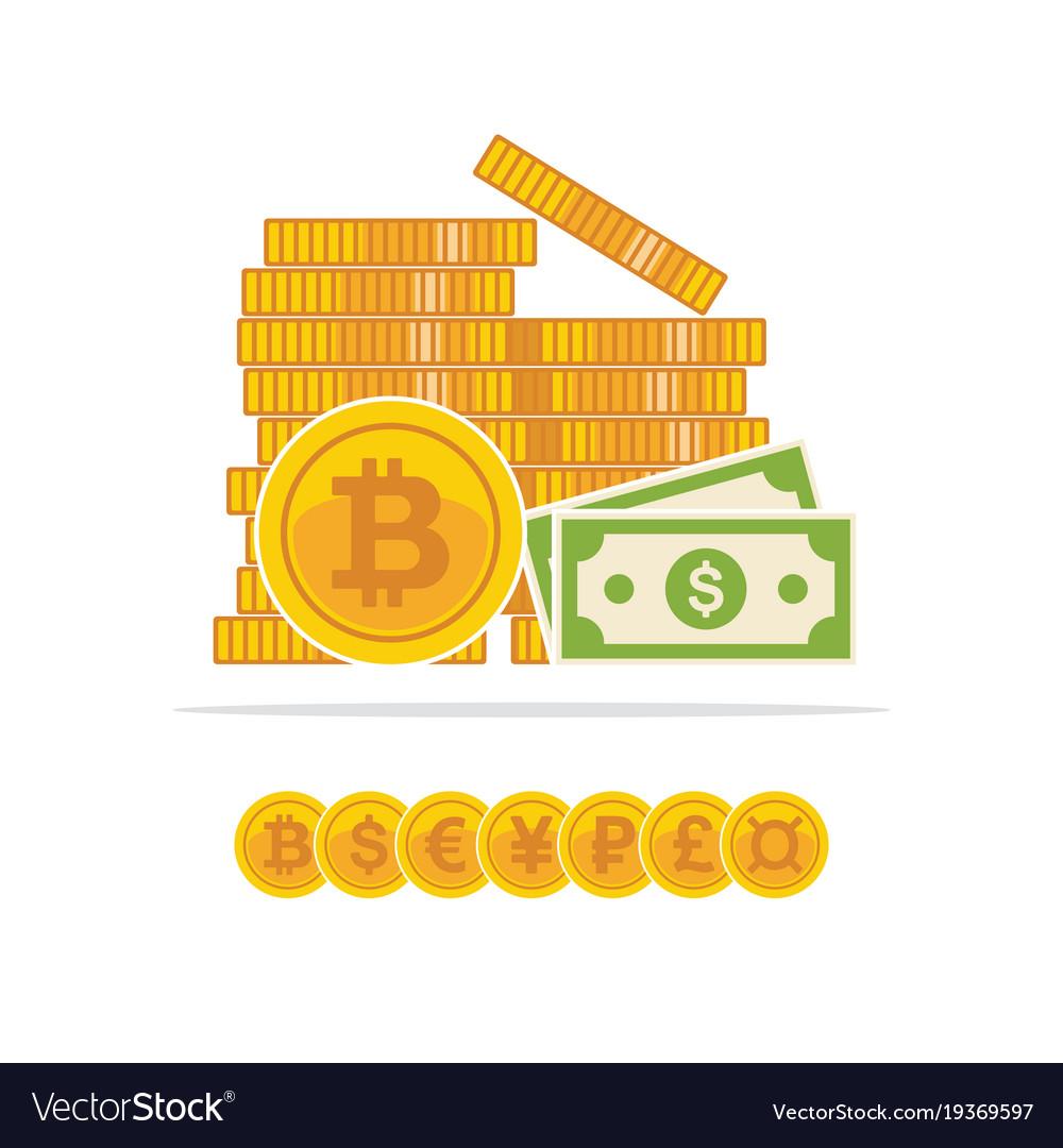 Flat golden bitcoins and dollar banknotes bitcoin vector image