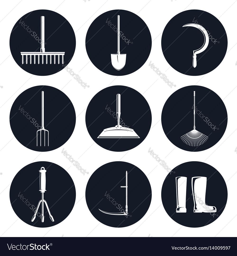 Set of round icons garden equipments