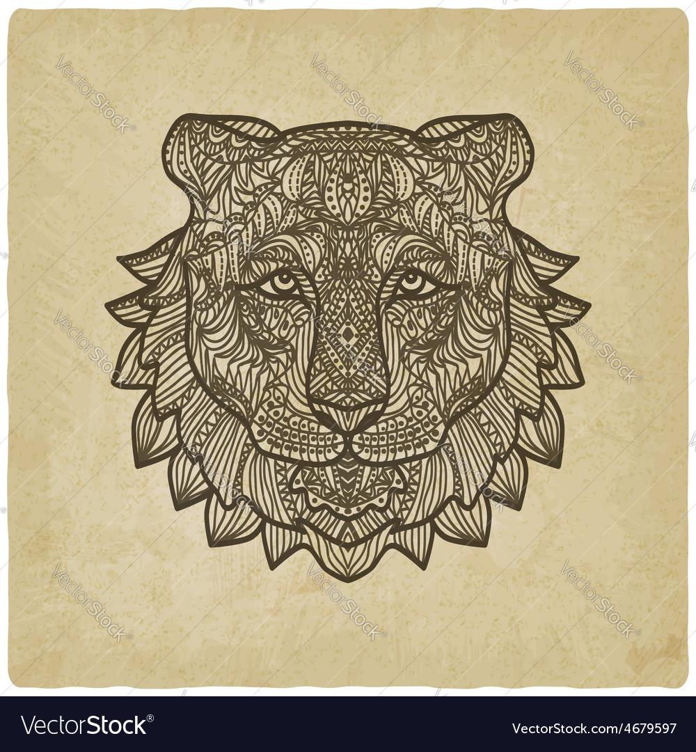 Tiger head on grunge background