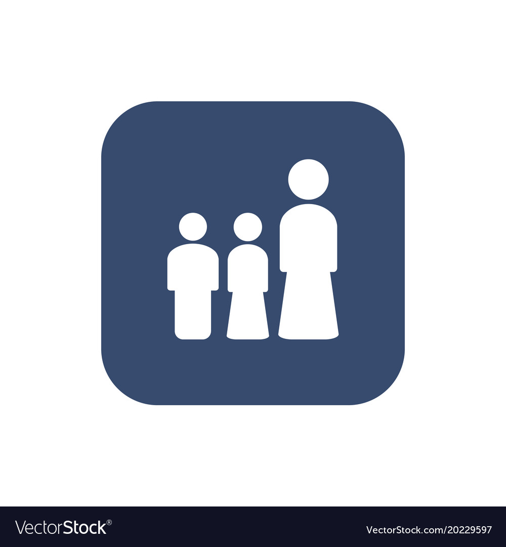 Woman and her children icon set concept design