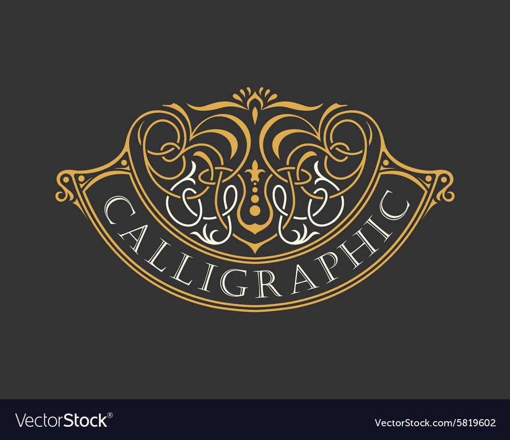 Calligraphic Luxury logo Emblem ornate decor