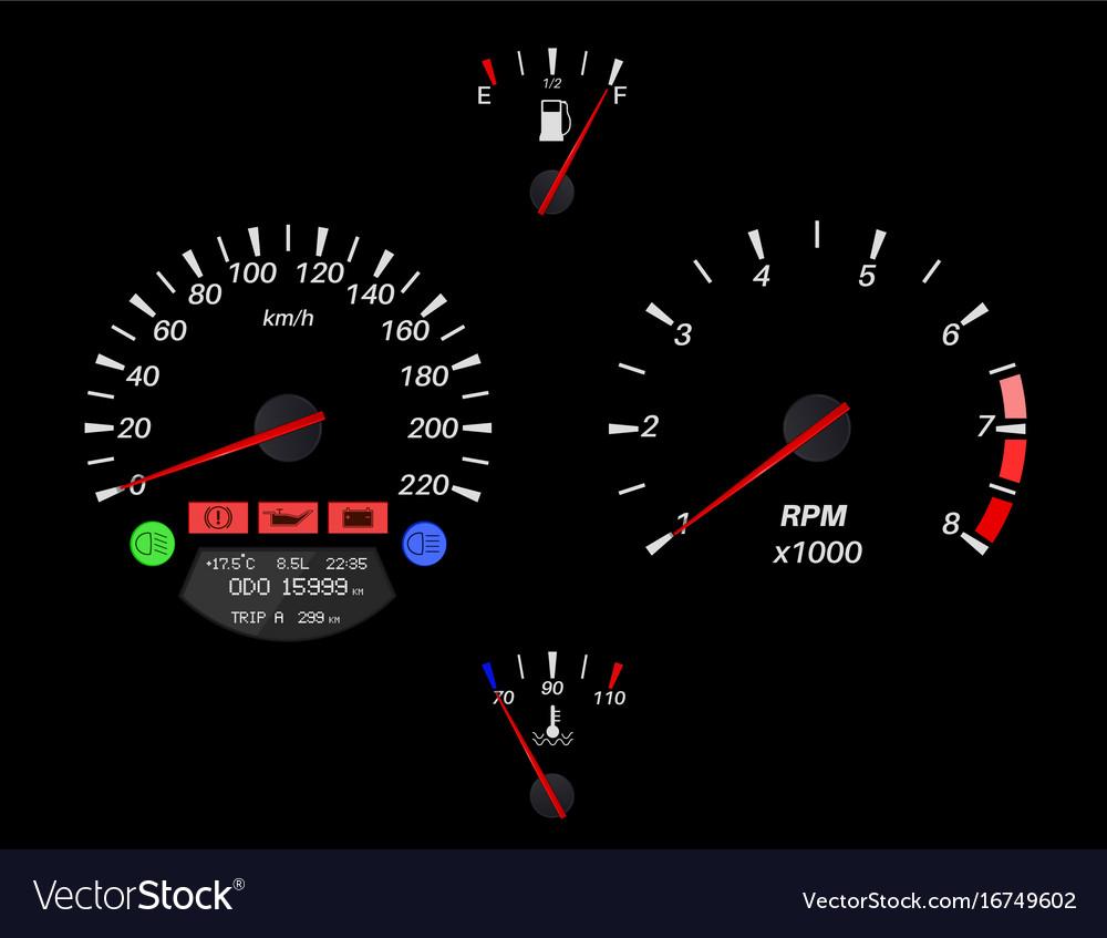 Car dashboard on black background vector image