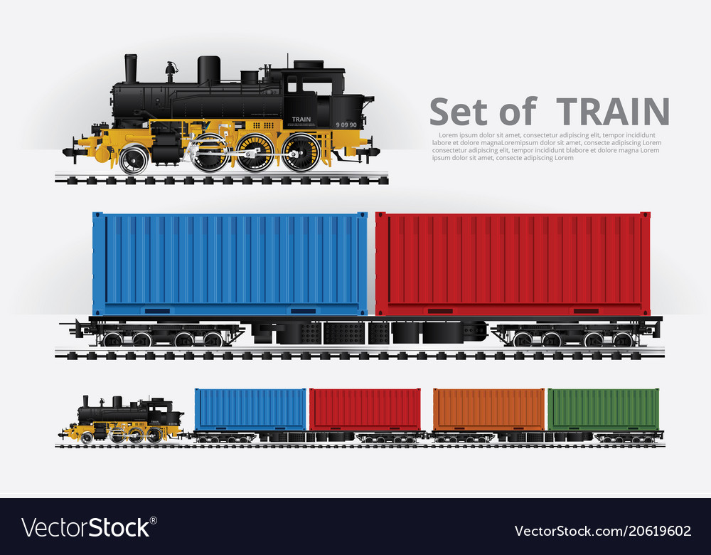 Cargo train on a rail road