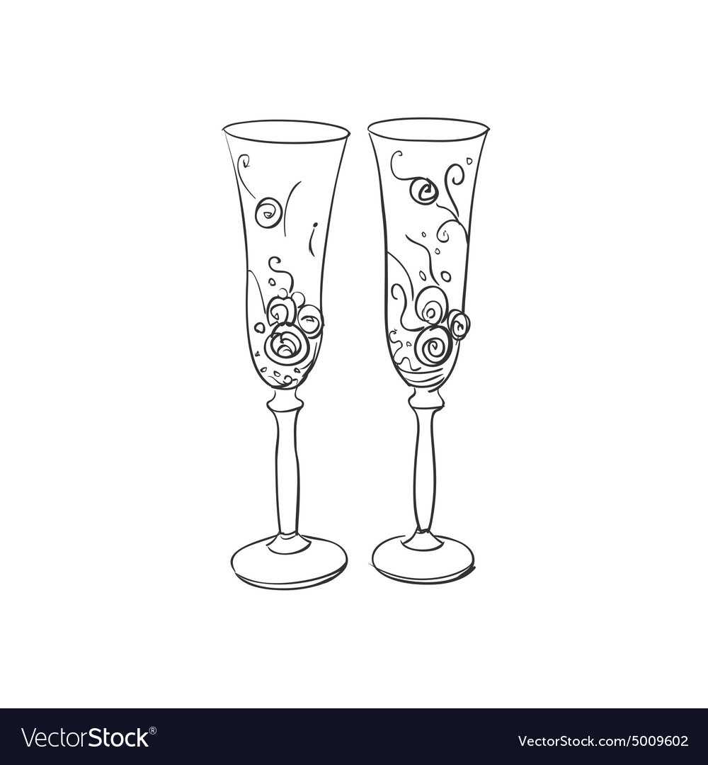 Doodle wedding glasses vector image