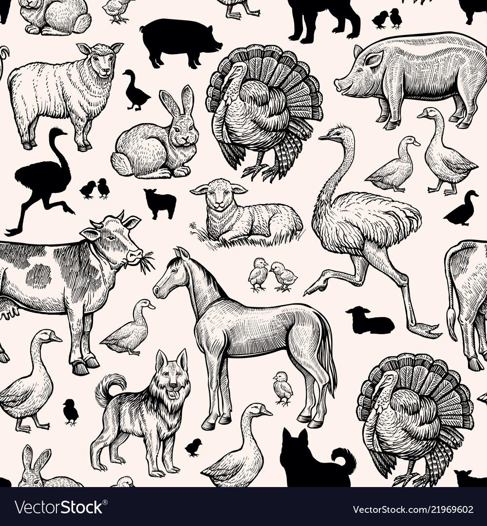 Farm animals seamless pattern vintage engraving