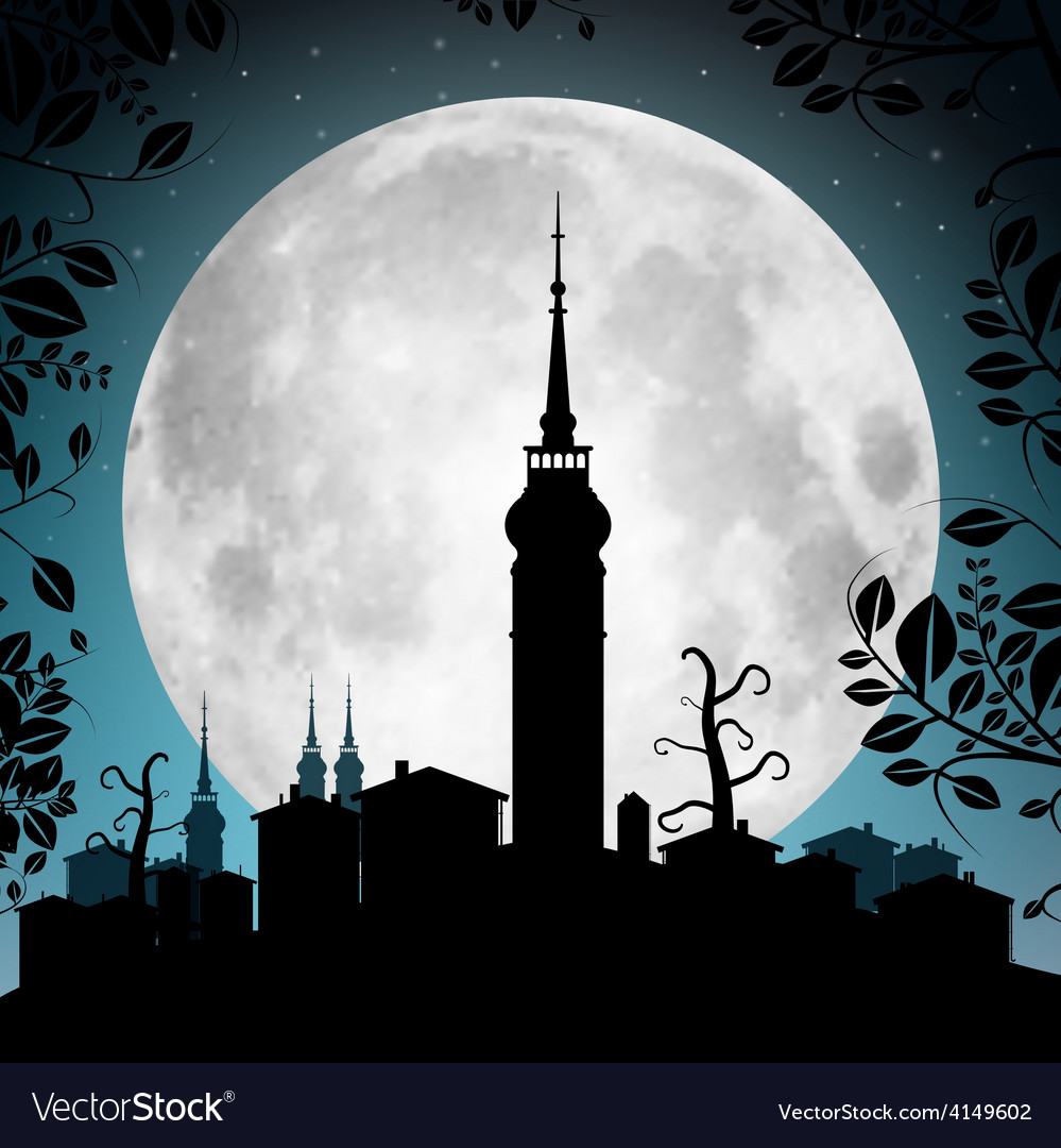 Full Moon with Town Silhouette - Houses and