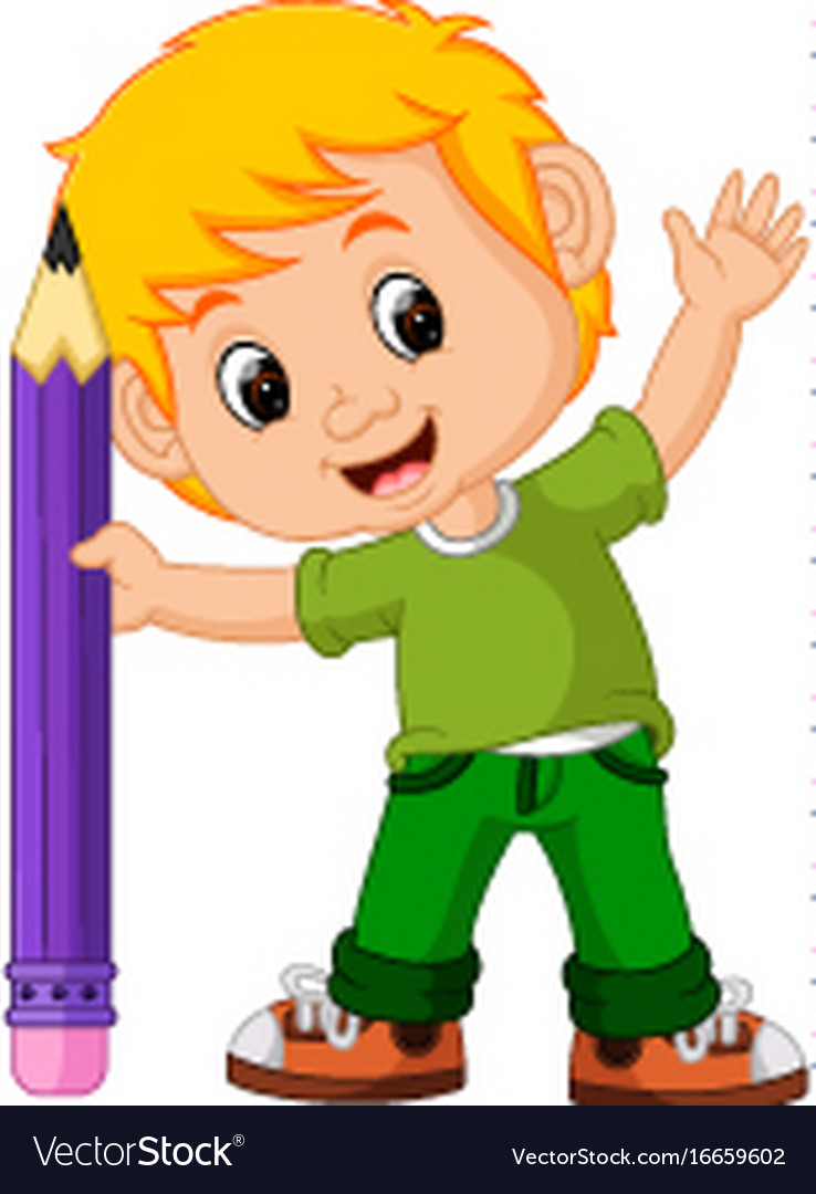 Kids boy with big pencil cartoon