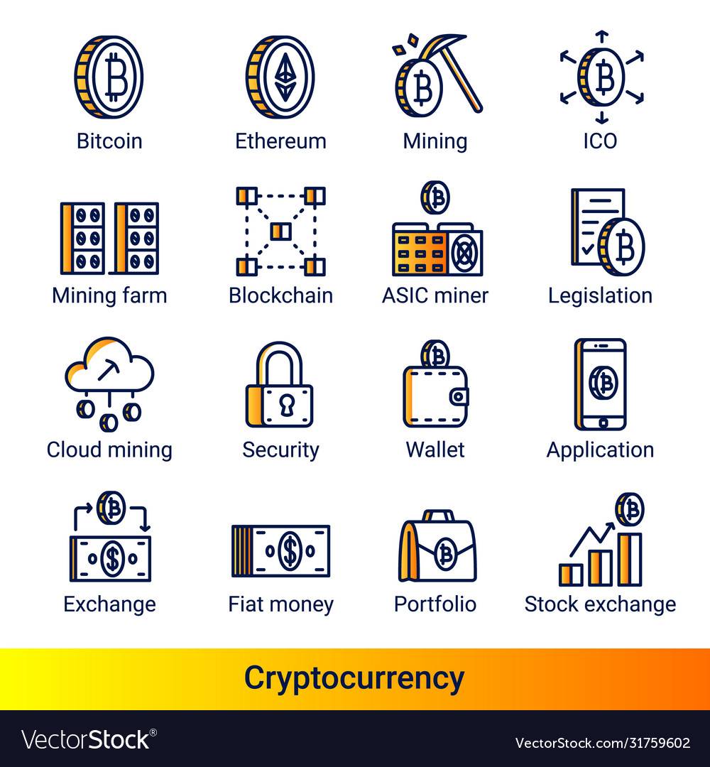 Line color gradient side cryptocurrency icons