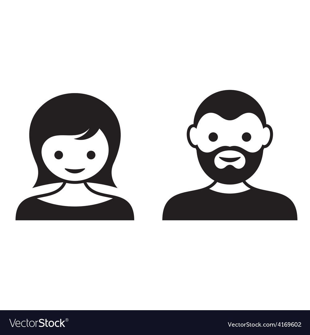 Man and woman face icons vector image