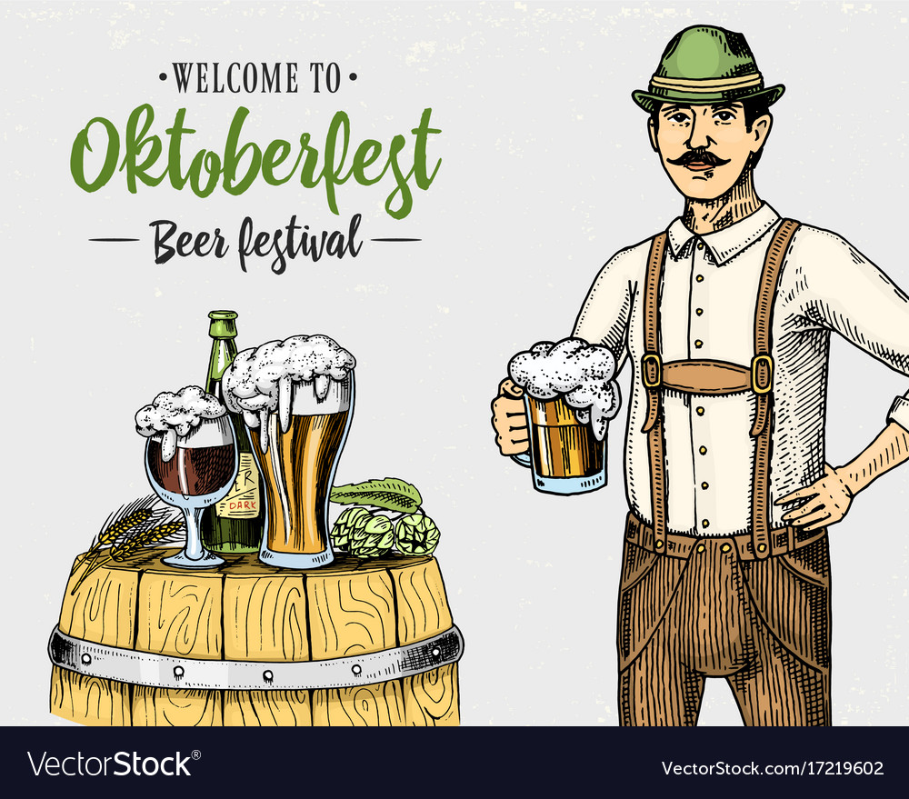 Man in traditional belgian or bavarian clothes vector image