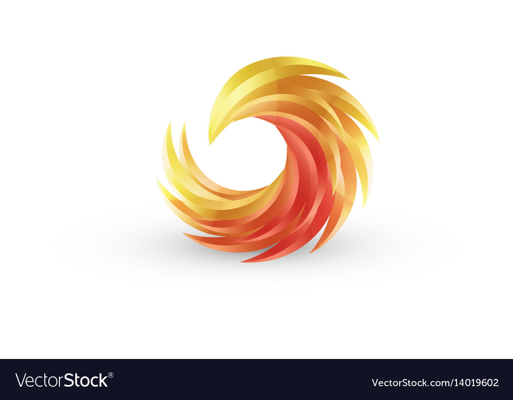 Phoenix bird and fire colorful icon