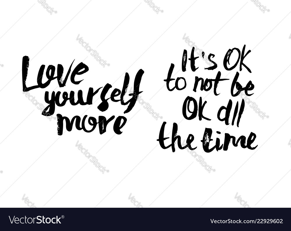 Quote Its Ok To Not Be Ok All The Time Royalty Free Vector