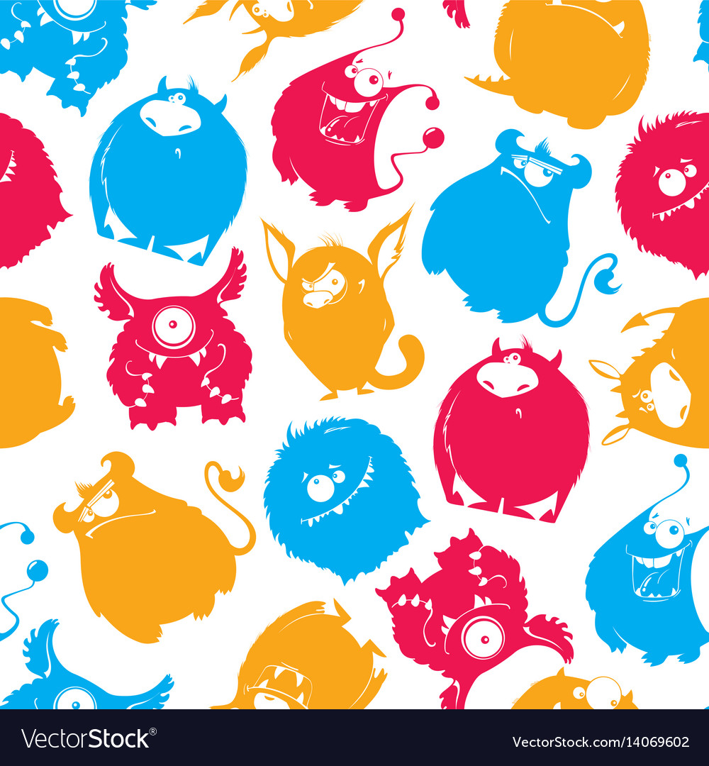 Seamless pattern of cartoon fluffy monsters
