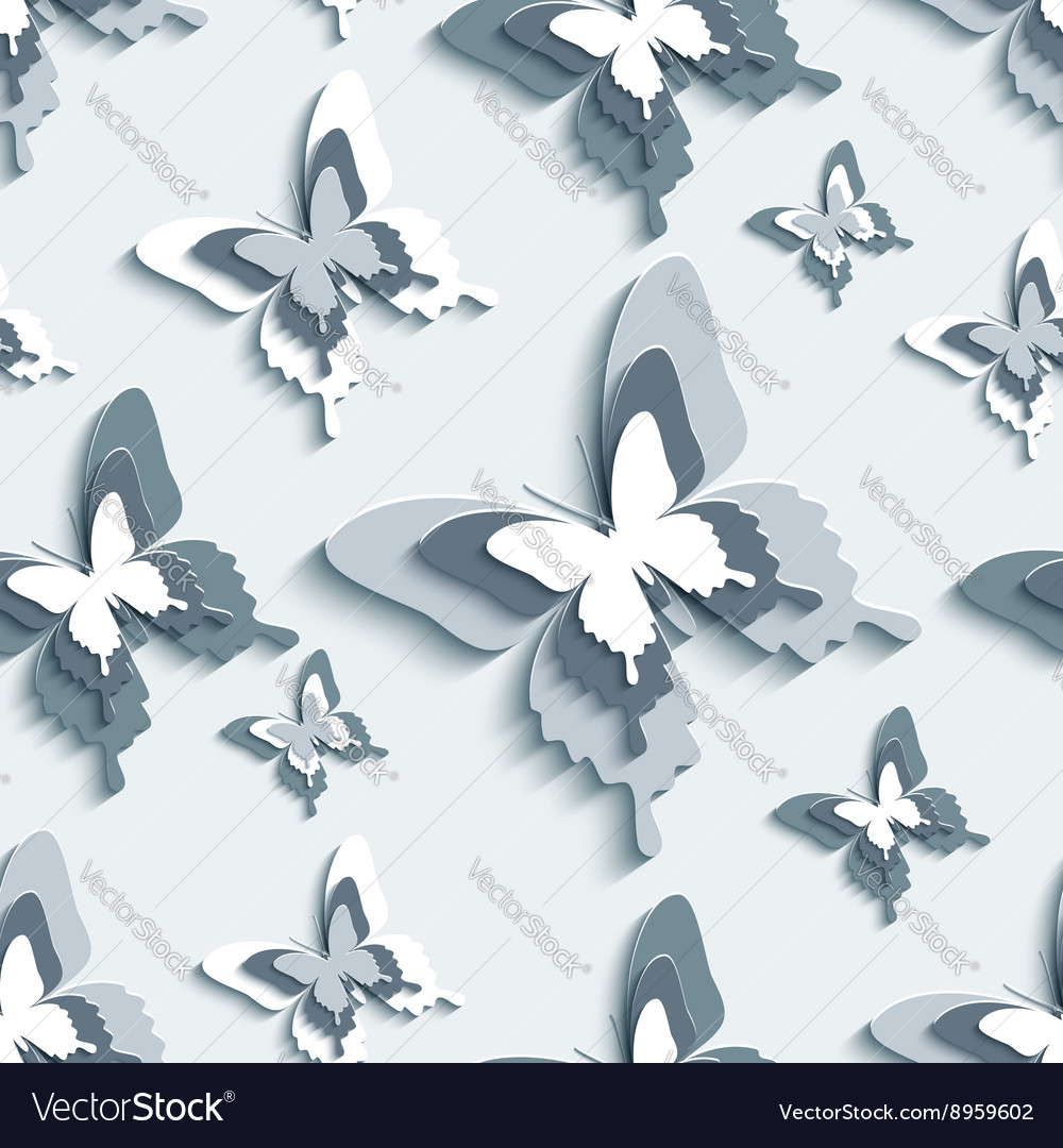 Seamless pattern with white grey 3d butterfly vector image