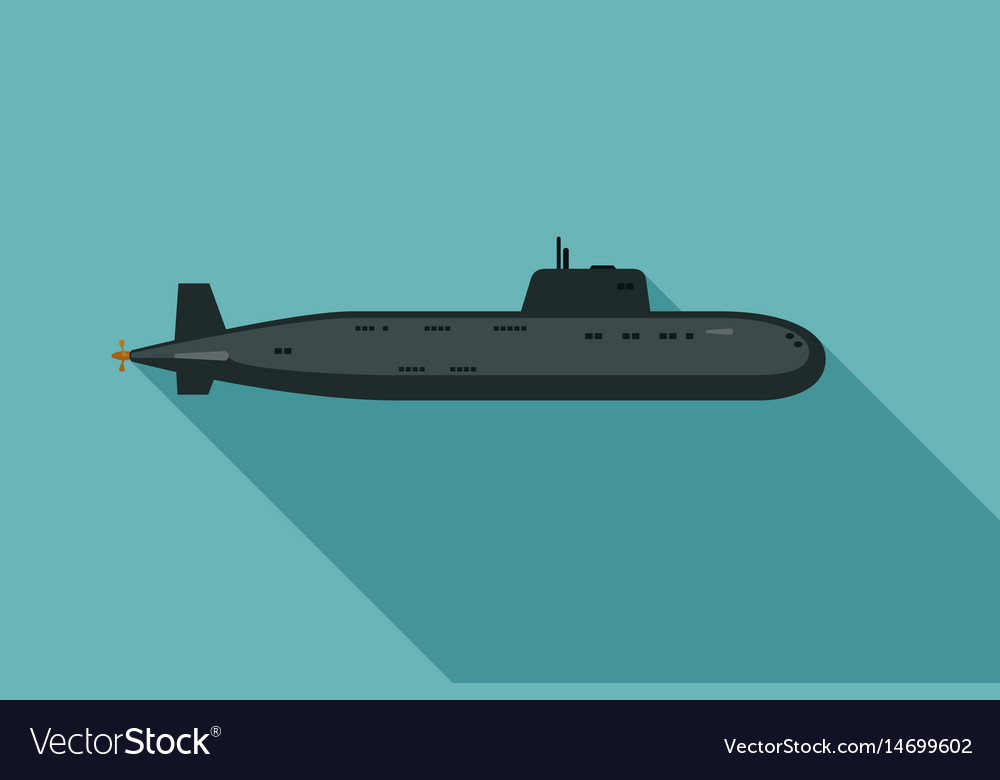 Submarine with long shadow vector image