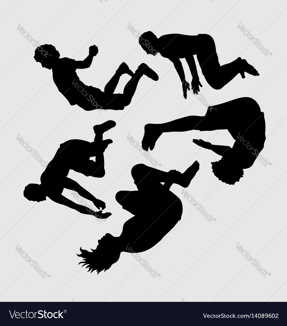 Teen people jumping sihouette vector image