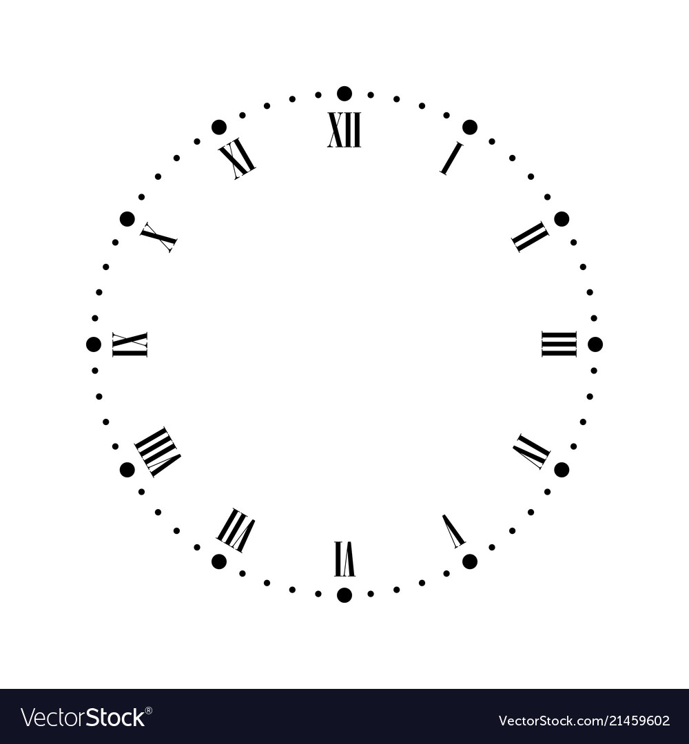 Vintage clock face with roman numbers dots mark