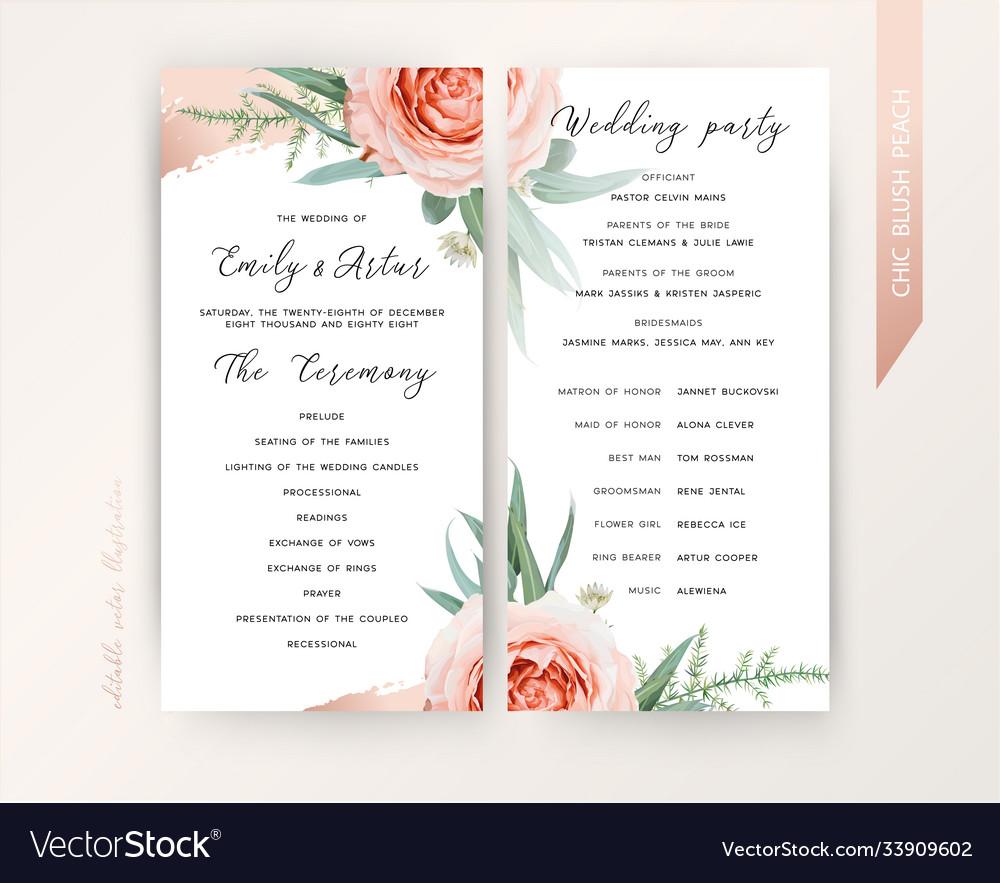 Wedding Ceremony Program Floral Design Blush Peach