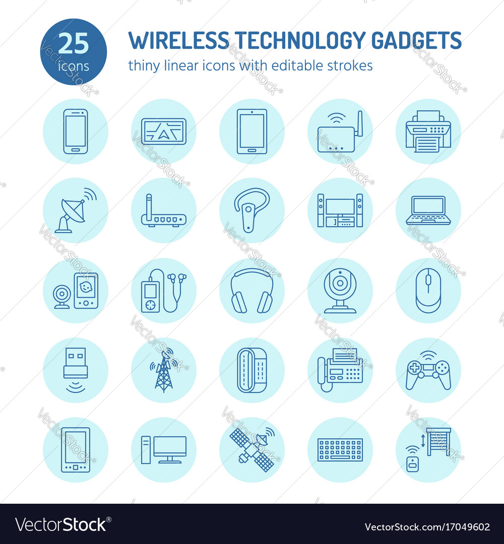 Wireless devices flat line icons wifi internet