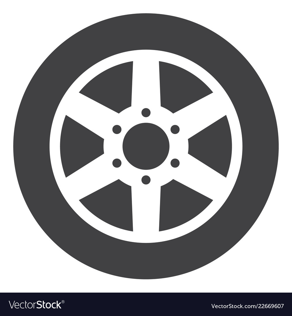 6b1f40f5fdf177 Car wheel flat icon symbol Royalty Free Vector Image