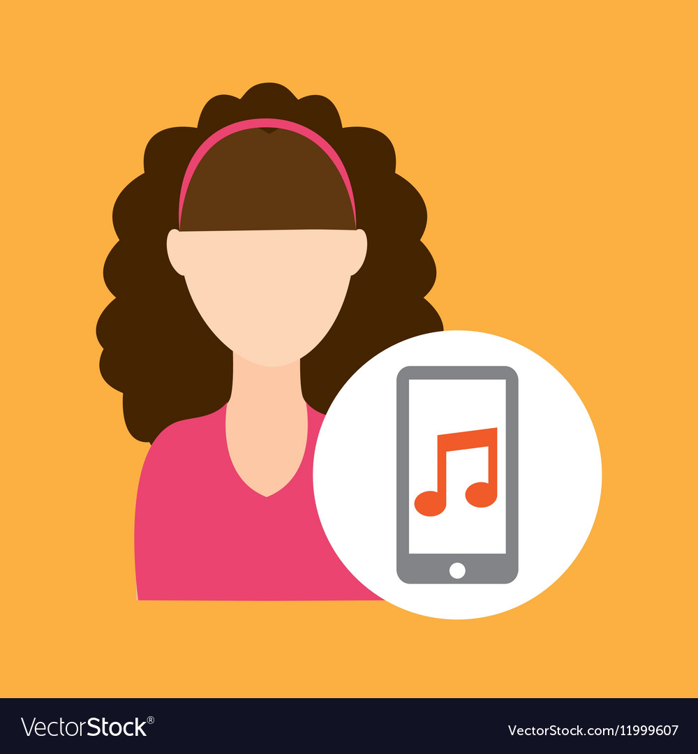 Character curly hair smartphone music application vector image
