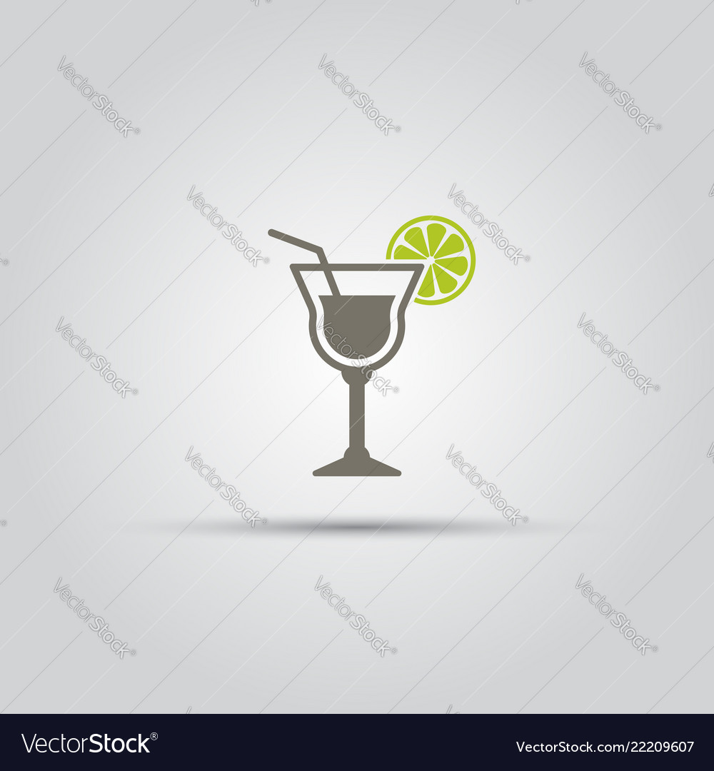 Cocktail with slice of lime isolated icon