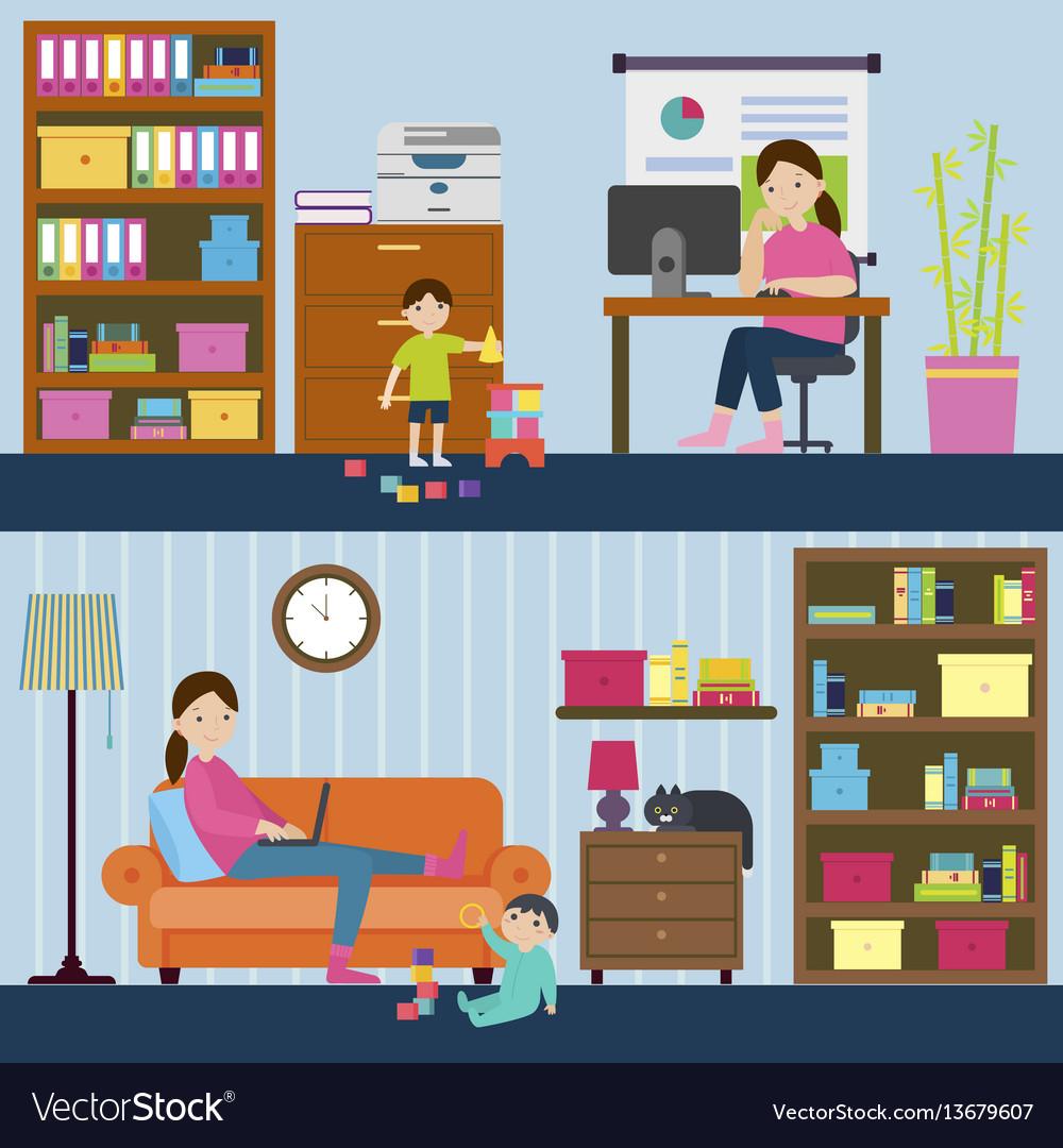 Colorful motherhood horizontal banners vector image