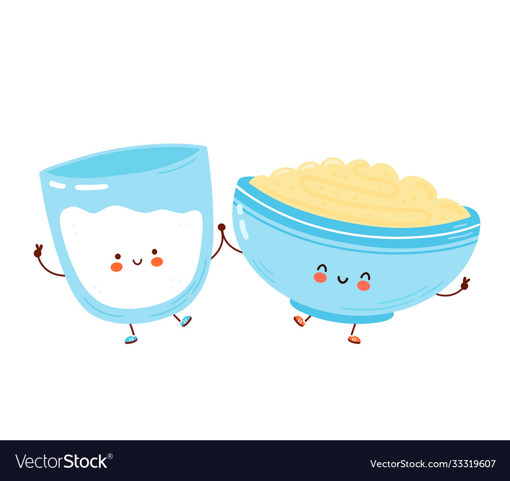 Cute happy bowl oatmeal porridge and milk glass