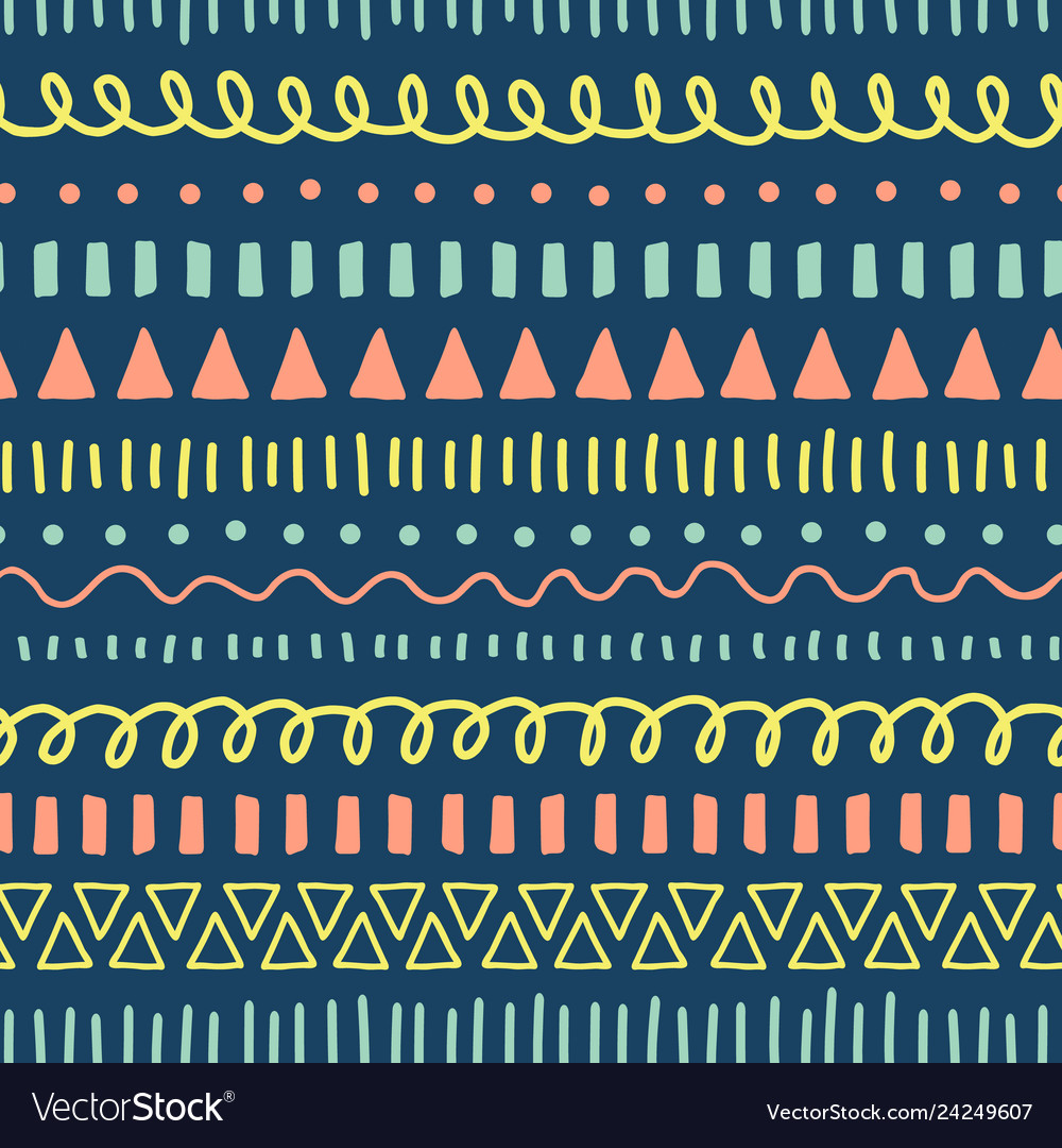 Doodles seamless pattern ethnic and tribal