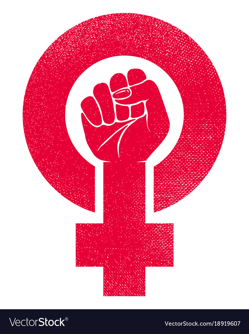 Female Gender Symbol With Raised Fist Royalty Free Vector