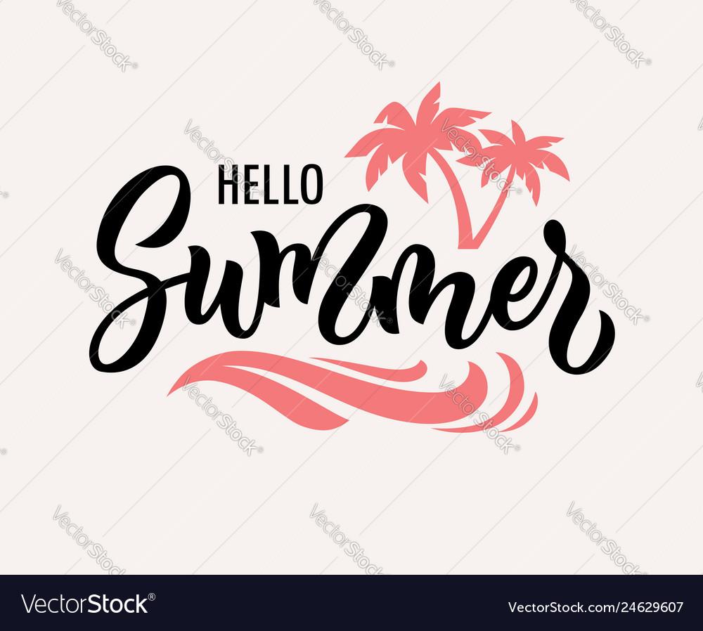 Hello summer hand drawn text