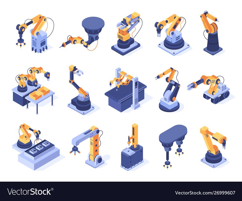 Isometric robotic arm industrial factory machines