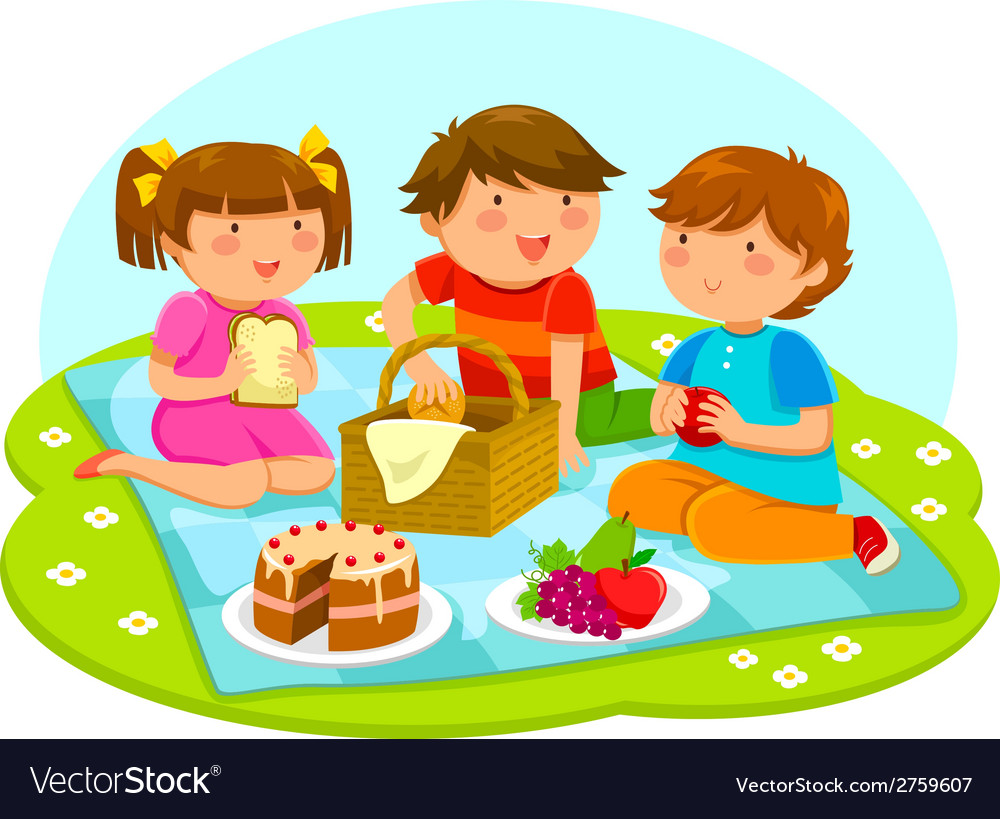 Kids on a picnic vector image