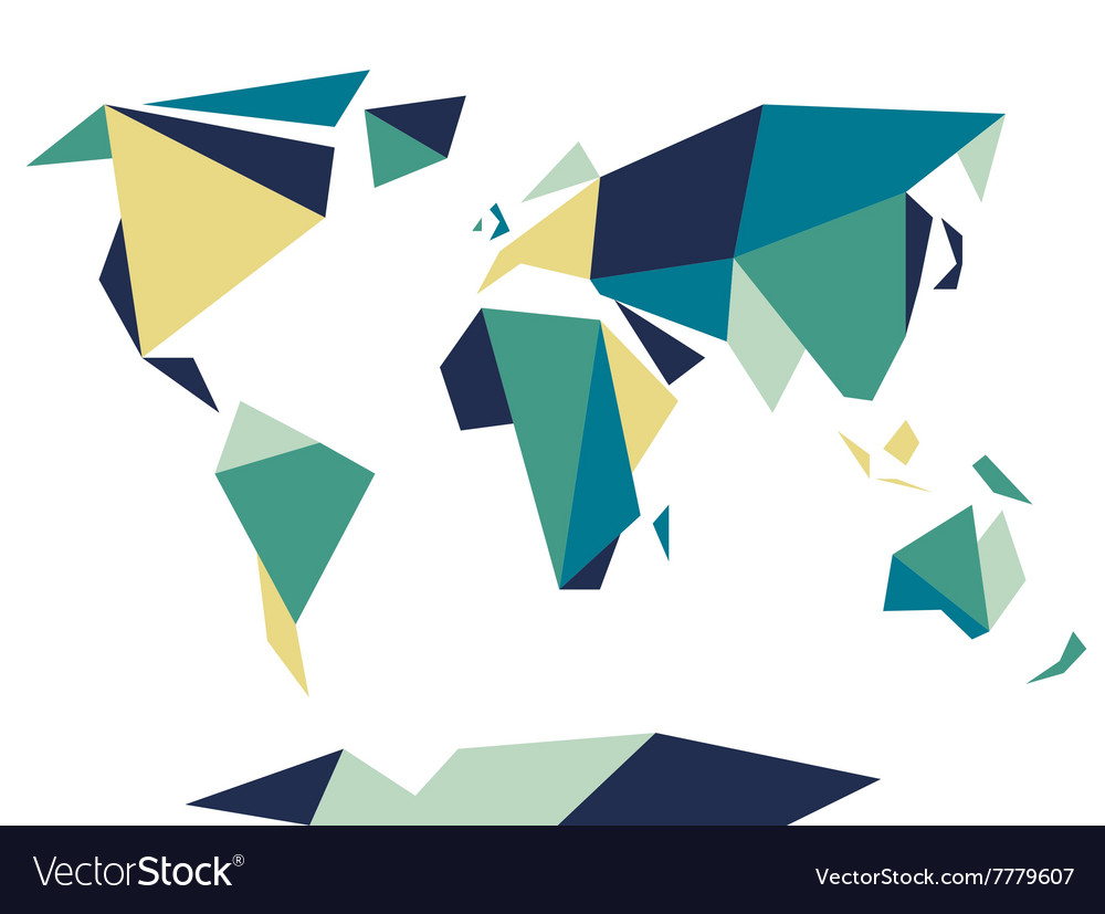 Low polygonal origami style world map Abstract