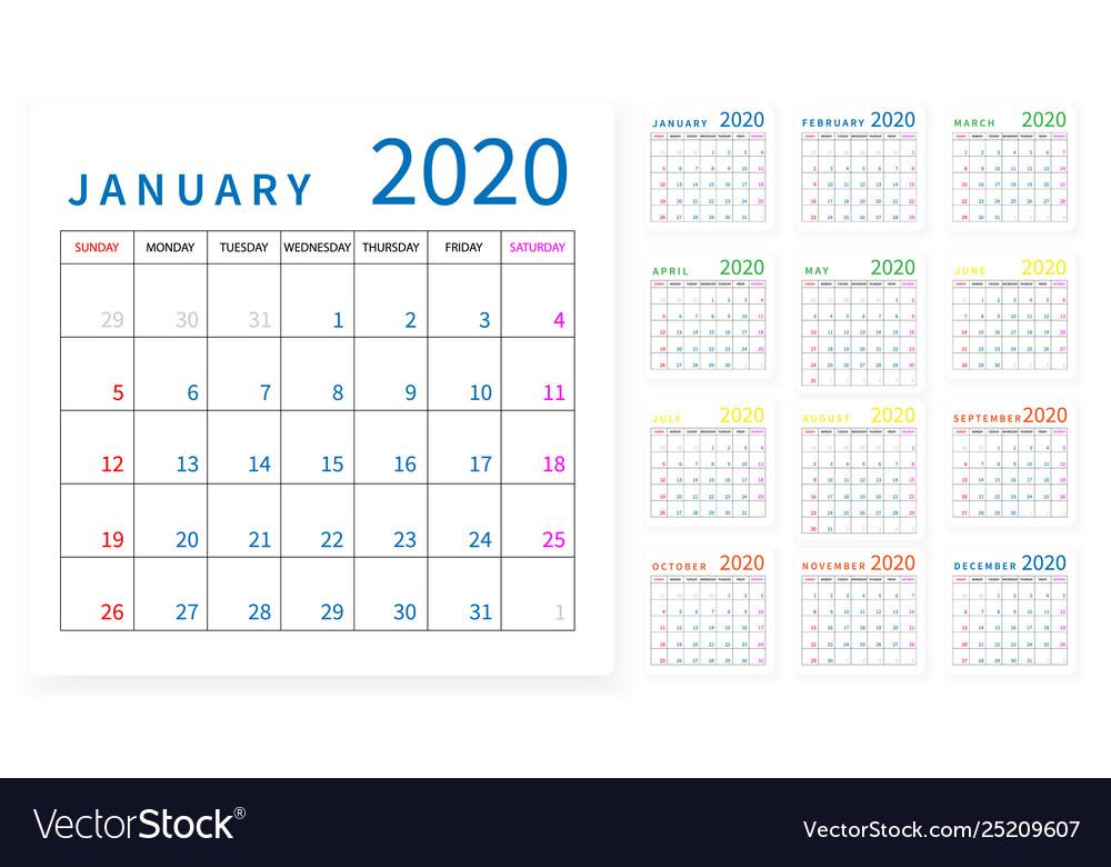 Mockup simple calendar layout for 2020 year week