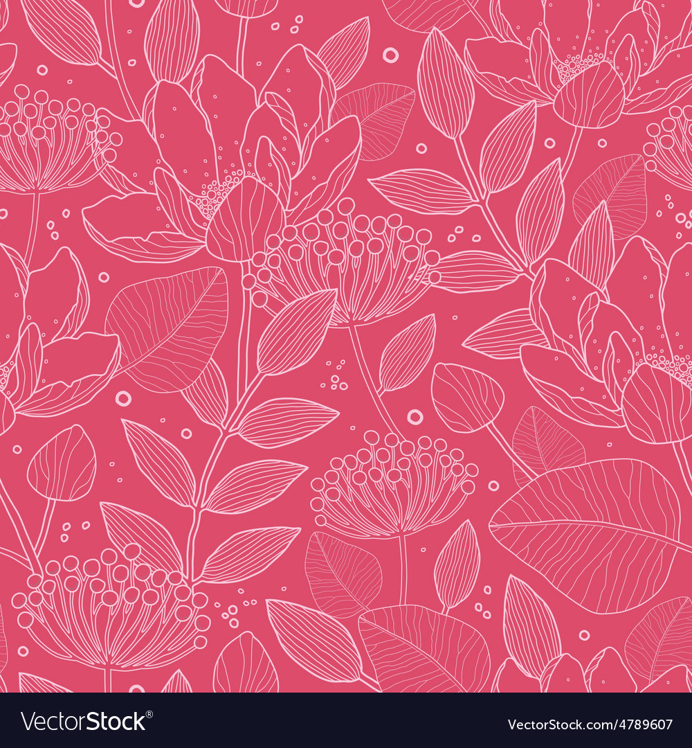 Red White Line Art flowers seamless pattern