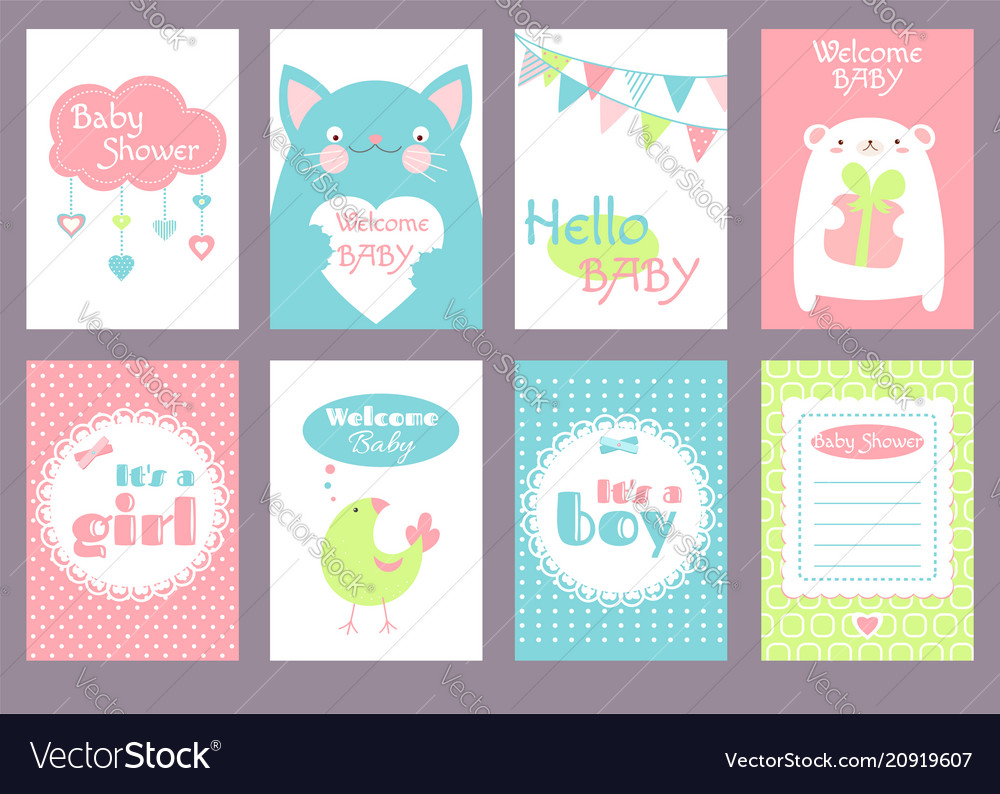 Set of birthday banners with cute animals