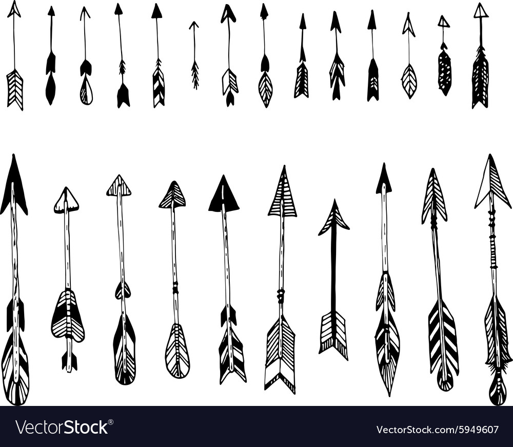 set of hand drawn arrows ethnic arrow royalty free vector