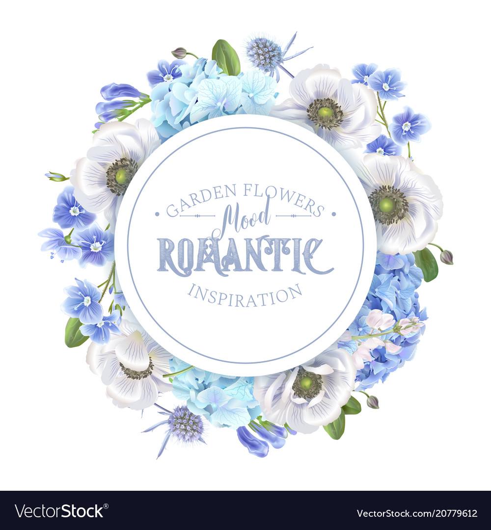 Blue anemone round banner